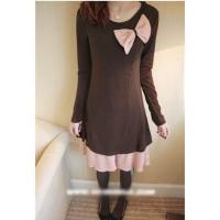 Wholesale Korean Elegant Style Long Sleeve Pleated Two Pieces in One Cotton Lady Dress from china suppliers