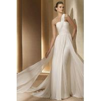 Wholesale Chiffon Lace One Shoulder Sash Stylish Wedding Gown 2012 With Appliques from china suppliers