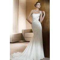 Wholesale Beading Flowers One Shoulder Chiffon Amazing Wedding Gowns With Side Draping from china suppliers