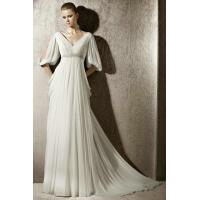 Buy cheap Empire Beading Waist Drapping Sleeves Column Wedding Dress 2012 Wholesale from wholesalers