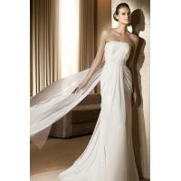 Wholesale Beading Band Strapless Chiffon Sheath White Bridal Gown With Watteau Train from china suppliers