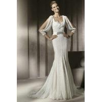 Wholesale Chiffon Drapping Sleeves Square Pleated Lace Beading Belt Sheath Wedding Dress 2012 from china suppliers