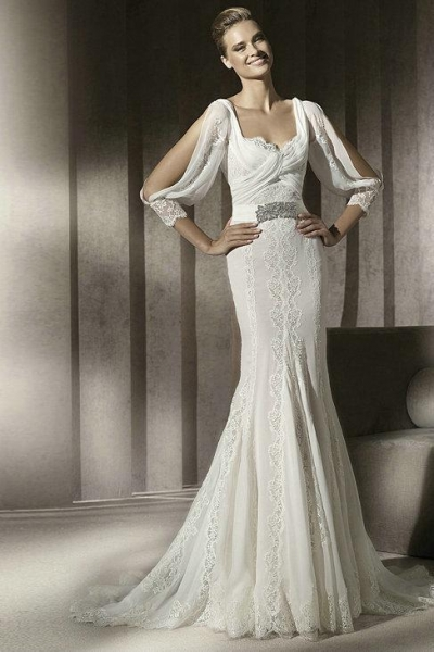 Quality Chiffon Drapping Sleeves Square Pleated Lace Beading Belt Sheath Wedding Dress 2012 for sale