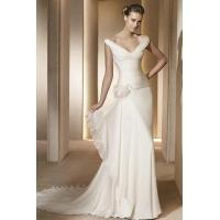 Buy cheap Sexy V Neck Ruched Chiffon Sheath Wedding Gown With Flower On The Waist from wholesalers