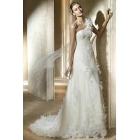 Buy cheap Ruched One Shoulder Flowers Pleated Empire Waist Sheath Sweep Train Princess Wedding Dress from wholesalers