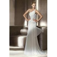 Buy cheap Lantern Top One Shoulder Chiffon Sheath Unique Wedding Dress With Handmade Embroidery from wholesalers