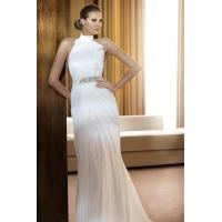 Buy cheap Halter Chiffon Bow Trimed White Wedding Gowns With Beading Belt from wholesalers