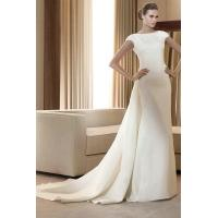 Wholesale Column Satin Full Neckline Modest Cintage Wedding Gowns Online from china suppliers
