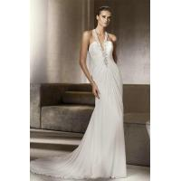 Wholesale Deep V Neck Sexy Beading Chiffon Column Wedding Dresses For Sale from china suppliers