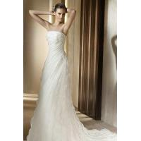 Wholesale Chiffon Ruffles Drapping Strapless Sheath Sweep Train Unusual Wedding Gown from china suppliers