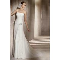 Buy cheap Sweetheart Ruched Side Drapping Chiffon Sheath Bridal Gowns With Beading from wholesalers