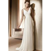 Buy cheap V Neck Chiffon Column Empire Sash Wedding Gown With Drapping Back from wholesalers
