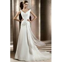 Buy cheap V Neck Ruched Drapping Chiffon Sheath Casual Wedding Dress For Beach Wedding from wholesalers