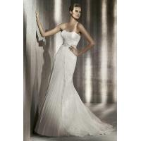 Buy cheap Strapless Column Empire Organza And Lace Wedding Gown With Beading Belt from wholesalers