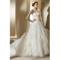Strpless Organza Ruffled White Bridal Gown With Embroidery Manufactures