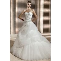 Sweetheart Organza Bubble Whire Cathedral Bridal Dresses Manufactures