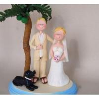 Buy cheap Bride and Groom Beach Wedding Cake Topper Under Coconut Palm WCT125 from wholesalers