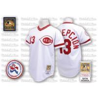 Wholesale Mitchell and Ness Cincinnati Reds #13 Dave Concepcion Authentic White Home Throwback Man MLB Jersey from china suppliers