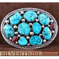 Buy cheap Navajo Indian Jewelry Sterling Silver Turquoise And Coral Belt Buckle HS54650 from wholesalers