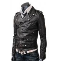 Belted Rider Leather Jacket Black Manufactures