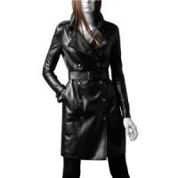 Buy cheap Women Studded leather trench Coat from wholesalers