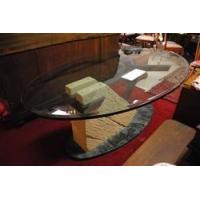 Buy cheap Oval Dining Table & Console, Steel, Stone, & Glass, Original Art by D Lowe $10,000 Retail from wholesalers