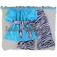 Buy cheap Newborn Baby Girls Boutique Aqua and Zebra Outfit Set from wholesalers