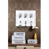Wooden Wall Decoration wooden white distressed frame and hooks
