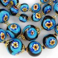 Buy cheap Millefiori Necklaces - Black with Turquoise and Yellow/Orange Flower from wholesalers