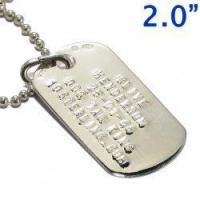 """Wholesale 2.0"""" Men's Sterling Silver Dog Tag & Silver Ball Chain from china suppliers"""