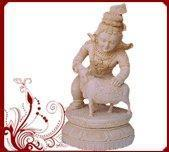 Buy cheap White Wood Cow krishna Statues from wholesalers