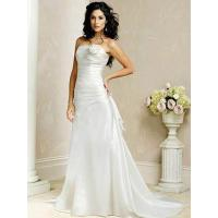 Strapless A-line Flower Satin Silk Wedding Gown Manufactures