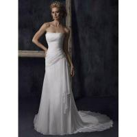 Sheath Strapless Pleated Lace-up Chiffon Wedding Dress Manufactures