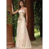 Strapless Column Lace-up Pleated Taffeta Bridemaid Dress Wedding Gown Manufactures