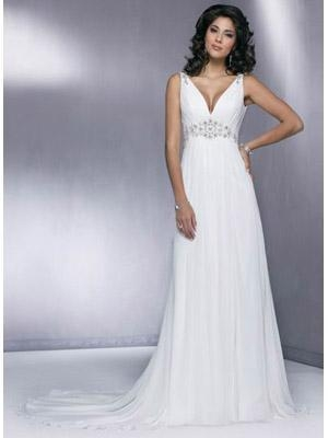 Quality Sheath V-neck Beaded Applique Chiffon Wedding Dress for sale