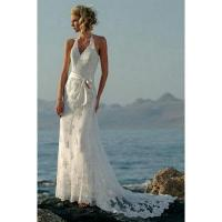 Column Halter Bow Sash Lace Chiffon Wedding Dress Manufactures
