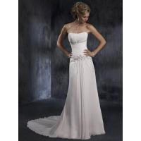 Strapless Lace-up Back Applique Column Chiffon Wedding Gown Manufactures