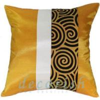 Buy cheap GOLD & CREAM Silk Throw Cushion Cover with Black Spiral Middle Stripe from wholesalers