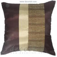 Buy cheap BROWN & IVORY Silk Throw Pillow Covers with 2 Tone Middle Stripe Design from wholesalers