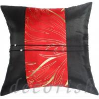 Buy cheap BLACK Silk Throw Pillow Cover with Red Golden Bamboo Middle Stripe from wholesalers