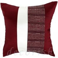 Buy cheap MAROON & CREAM Silk Throw Pillow Covers with 2 Tone Middle Stripe from wholesalers
