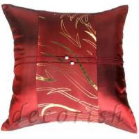 Buy cheap MAROON Silk Throw Pillow Cases with Golden Bamboo Middle Stripe from wholesalers