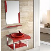 Buy cheap 60cm small size tempered glass wash vanity with frameless mirror from wholesalers