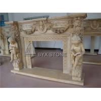 Buy cheap Beige Limestone Fireplace Mantels Stone Surround with Lady Figure Statues Carving from wholesalers
