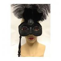 Buy cheap Beards And Moustaches Black Eyemask With Feathers And Sequins On A Stick from wholesalers