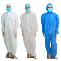 Wholesale PP Disposable Coverall Suit With Hood Breathable Nonwoven Full Body Protection Suit from china suppliers