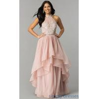 Buy cheap High-Neck Mauve Pink Long Tiered Tulle Prom Dress MY-4948MT1S from wholesalers