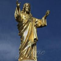 Buy cheap Marble Altar Bronze Standing Jesus Sculpture Christian Statue with Hands Opening for Sale from wholesalers
