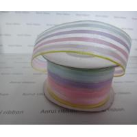 Wholesale Customized Ribbon Polyester Stripe woven Rainbow ribbon from china suppliers