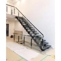 Stainless steel wood stair glass balustrade